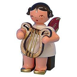 Engel mit Leier  -  Rote Flügel  -  sitzend  -  5cm