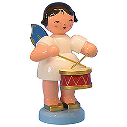 Engel mit Trommel  -  Blaue Flügel  -  stehend  -  9,5cm