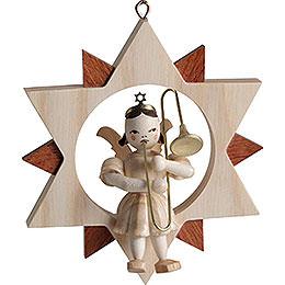 Engel mit Zugposaune im Stern, natur  -  9cm