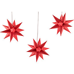 Erzgebirge - Palace Moravian Star Set of Three Red incl. Lighting  -  17cm / 6.7 inch