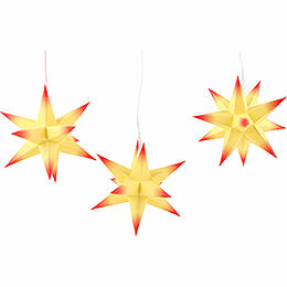 Erzgebirge - Palace Moravian Star Set of Three Yellow Core with Red Tips incl. Lighting  -  17cm / 6.7 inch