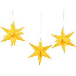 Erzgebirge - Palace Moravian Star Set of Three Yellow incl. Lighting  -  17cm / 6.7 inch