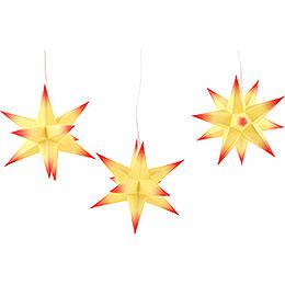 Erzgebirge - Palast Adventsstern 3er - Set gelber Kern mit roten Spitzen inkl. Beleuchtung  -  17cm