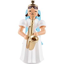 Faltenlangrockengel mit Saxophon, natur  -  6,6cm