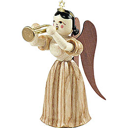 Faltenlangrockengel mit Trompete, natur  -  6,6cm