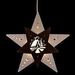 """Fensterbild Stern """"Waldhütte"""" Weiß/Braun LED  -  30,5x29x6cm"""