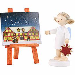 Flachshaarengel mit Adventsstern und  - kalender  -  5cm