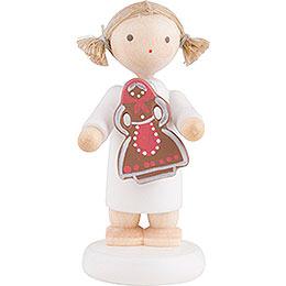 Flachshaarengel mit Pfefferkuchenfrau  -  5cm