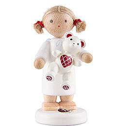 Flachshaarengel mit Teddy  -  5cm