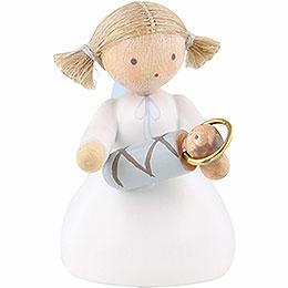 Flachshaarengel sitzend mit Jesuskind  -  5cm