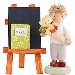 Flachshaarkinder Junge mit Schultüte, Tafel und Fibel  -  5cm