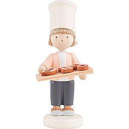 Flachshaarkinder Kleiner Bäcker mit Brezeln  -  ca. 5cm