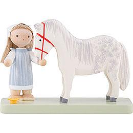 Flachshaarkinder Kleines Mädchen mit Pferdchen  -  5cm