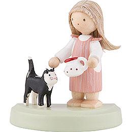 Flachshaarkinder Kleines Mädchen mit schwarzer Katze  -  5cm