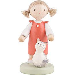 Flachshaarkinder Mädchen mit Kätzchen  -  ca. 5cm