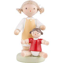 Flachshaarkinder Mädchen mit Puppe  -  ca. 5cm