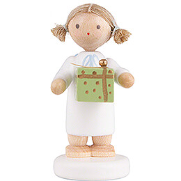 Flax Haired Angel with Christmas Gift, Green  -  5cm / 2 inch