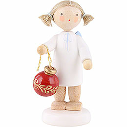 Flax Haired Angel with Christmas Tree Ball  -  5cm / 2 inch