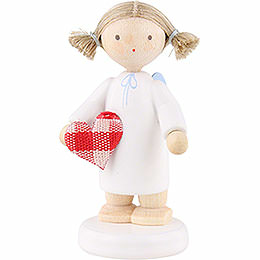 "Flax Haired Angel with Fabric Heart ""With All My Heart""  -  5cm / 2 inch"