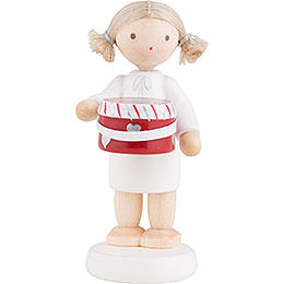 Flax Haired Angel with Hat Box  -  5cm / 2 inch