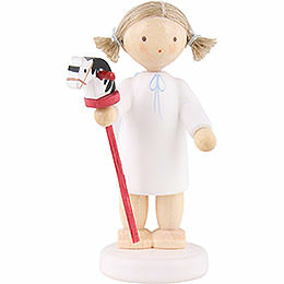 Flax Haired Angel with Hobby Horse  -  5cm / 2 inch