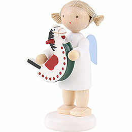 Flax Haired Angel with Rocking Horse  -  5cm / 2 inch