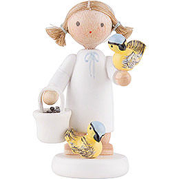 Flax Haired Angel with Titmice  -  5cm / 2 inch