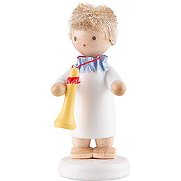 Flax Haired Angel with Trumpet  -  5cm / 2 inch