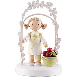 Flax Haired Children  -  Birthday Child with Apples  -  7,5cm / 3 inch