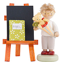 Flax Haired Children Boy with Candy Cone, Blackboard and Reader  -  5cm / 2 inch