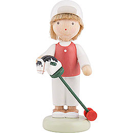 Flax Haired Children Boy with Hobby Horse  -  5cm / 2 inch