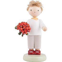 Flax Haired Children Boy with Rowan Berry  -  5cm / 2 inch