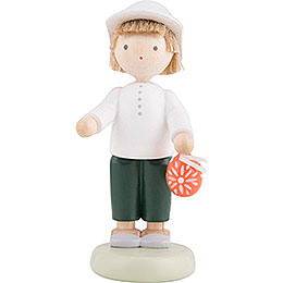 Flax Haired Children Boy with Sorbian Easter Egg  -  5cm / 2 inch