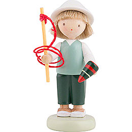 Flax Haired Children Boy with Top and Whip  -  5cm / 2 inch