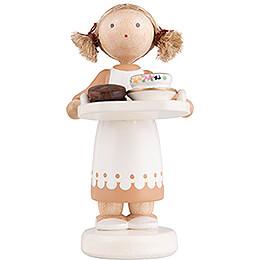 Flax Haired Children Chocolate Girl  -  5cm / 2 inch