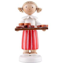 Flax Haired Children Girl with Pretzels  -  5cm / 2 inch