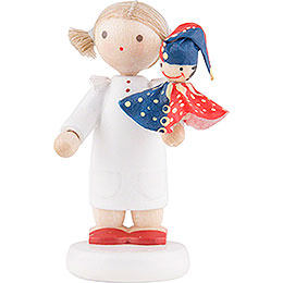 Flax Haired Children Girl with Punch Red/Blue  -  5cm / 2 inch