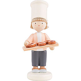 Flax Haired Children Little Baker with Pretzels  -  Ca. 5cm / 2 inch