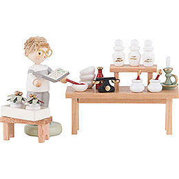 Flax Haired Herbal Pharmacy with Boy  -  8cm / 3.1 inch
