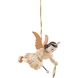 Floating Angel with Gong, Natural  -  6,6cm / 2.6 inch