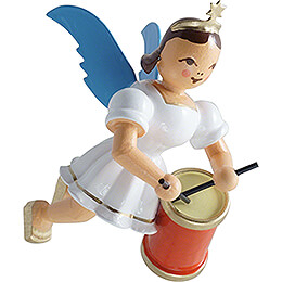 Floating Angel with Long Drum  -  Colored  -  6,6cm / 2.6 inch
