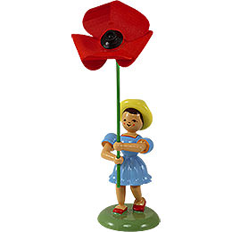 Flower Child with Field Poppy  -  12cm / 4.7 inch