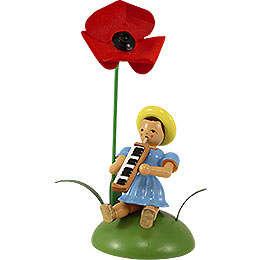 Flower Child with Field Poppy and Melodica Sitting  -  12cm / 4.7 inch