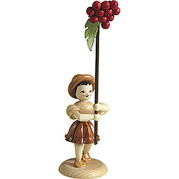 Flower Child with Rowan Berry, Natural  -  12cm / 4.7 inch