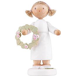 Flower Fairy Girl with Flower Wreath  -  5cm / 2 inch