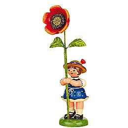 Flower Girl with Poppy  -  11cm / 4,3 inch