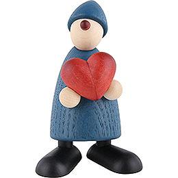 Gratulant Theo mit Herz, blau  -  9cm