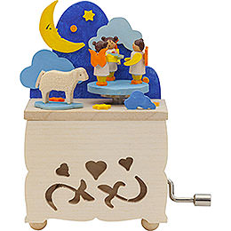 Hand Crank Music Box Moon Angel  -  10cm / 3.9 inch