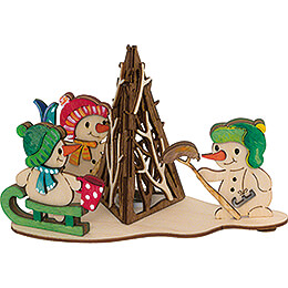 Handicraft Set  -  Smoking Campfire with Snowmen  -  11cm / 4.3 inch