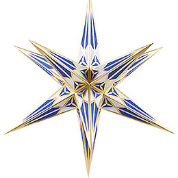 Hartenstein Christmas Star for Inside Use  -  White - Blue with Gold  -  68cm / 27 inch